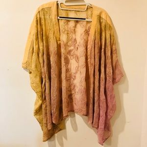 Gypsy 05 Pink and yellow ombré Kimono cover up